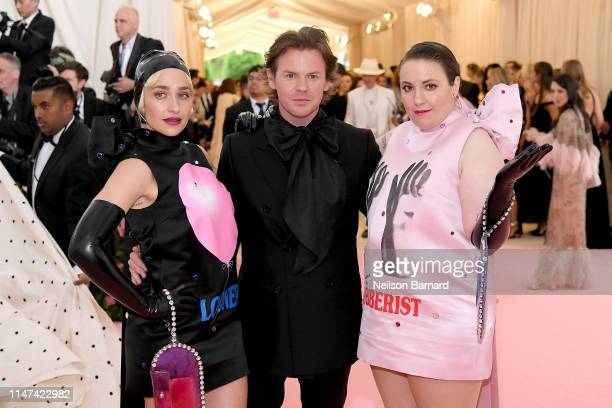 Jemima Kirke, Christopher Kane, and Lena Dunham attend The 2019 Met Gala Celebrating Camp: Notes on Fashion at Metropolitan Museum of Art on May 06,...