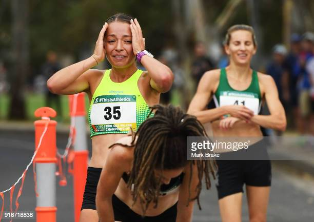 Jemima Montag Vic crosses the finish line in second place followed by Claire Tallent SA during the Australian 20km Walk Championships on February 11...
