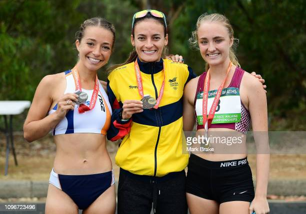 Jemima MontagSandra Lorenas and Katie Hayward with their medals during the 20KM Race Walking Championships at War Memorial Drive on February 10 2019...