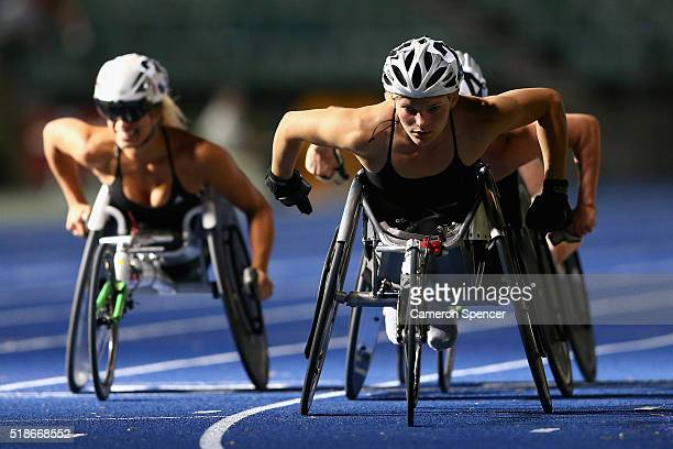 Jemima Moore of Victoria competes in the womens 1500m wheelchair during the Australian Athletics Championships at Sydney Olympic Park on April 2 2016...