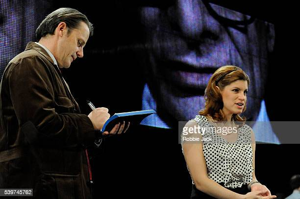 Jemima Rooper as Masa Serdarevic and Anthony Calf as The Author in David Hare's play 'The Power Of Yes' directed by Angus Jackson at the National...