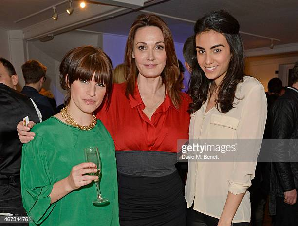 Jemima Rooper Sarah Parish and Aiysha Hart attend the Murray Parish Trust inaugural art auction at The Gallery Soho on February 6 2014 in London...