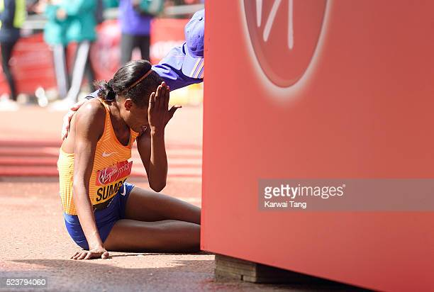 Jemima Sumgong crosses the finish line to win the Womens Virgin London Marathon 2016 on April 24 2016 in London England