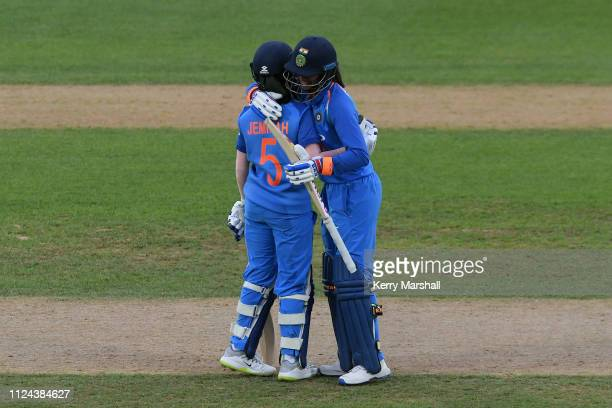Jemimah Rodrigues and Smriti Mandhana of India during game one of the One Day International Series between New Zealand White Ferns and India at...