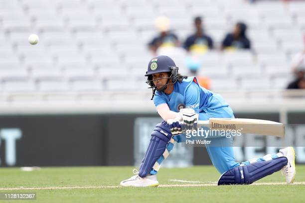 Jemimah Rodrigues of India bats during game two of the International T20 Series between the New Zealand White Ferns and India at Eden Park on...