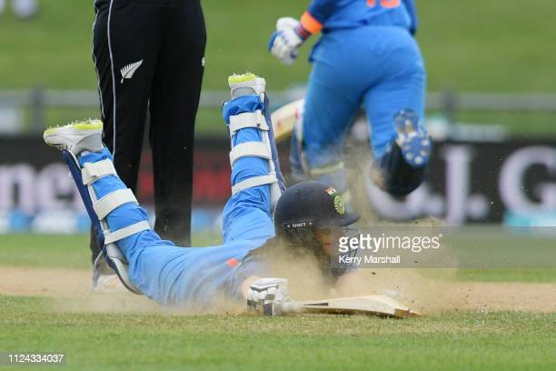Jemimah Rodrigues of India dives to make her ground during game one of the One Day International Series between New Zealand White Ferns and India at...
