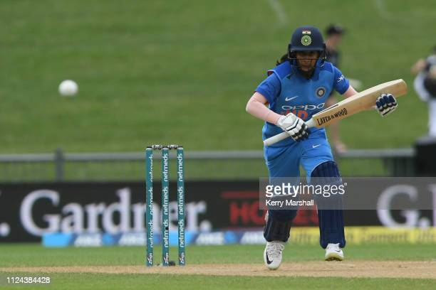 Jemimah Rodrigues of India in action during game one of the One Day International Series between New Zealand White Ferns and India at McLean Park on...