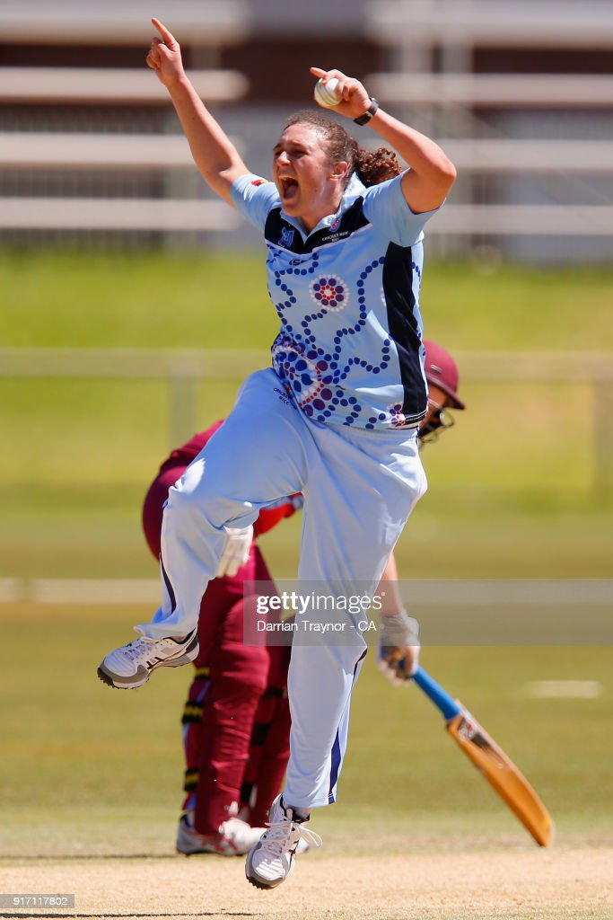 Jemma Astley of N.S.W. celebrates a wicket in the Final against Queensland during the 2018 Cricket Australia Indigenous Championships on February 12, 2018 in Alice Springs, Australia.