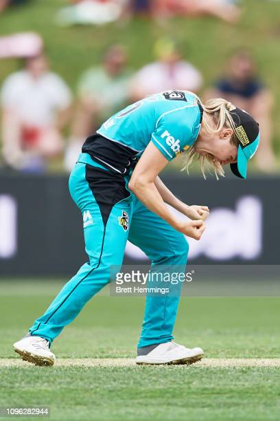 Jemma Barsby of Brisbane celebrates taking the wicket of Alex Blackwell of the Thunder during the Women's Big Bash League match between the Sydney...