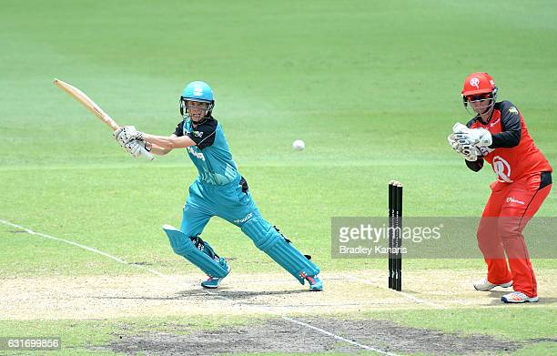 Jemma Barsby of the Heat hits the ball to the boundary for a four during the Women's Big Bash League match between the Melbourne Renegades and the...