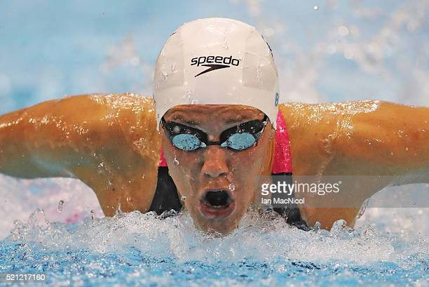 Jemma Lowe competes in the final of the Women's 200m Butterfly during Day Three of The British Swimming Championships at Tollcross International...