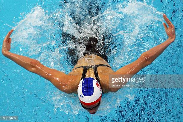 Jemma Lowe of Great Britain competes in the Women's 200m Butterfly Heat 4 held at the National Aquatics Center during Day 4 of the Beijing 2008...