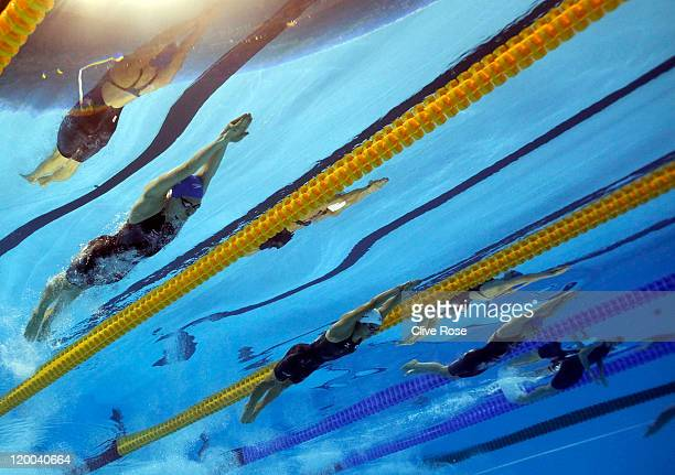 Jemma Lowe of Great Britain Natsumi Hoshi of Japan and Ellen Gandy of Great Britain compete in the Women's 200m Butterfly Final during Day Thirteen...