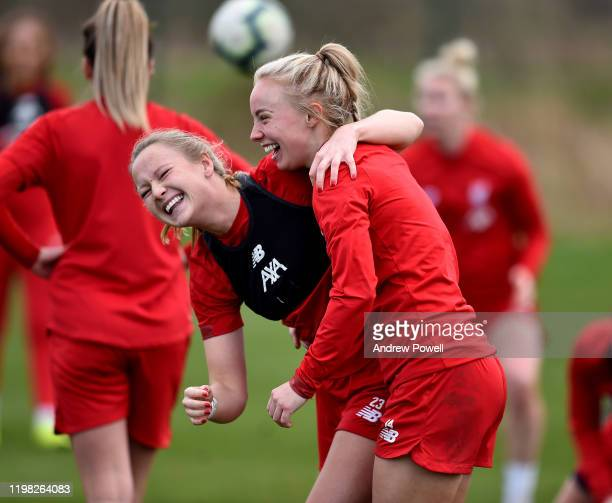 Jemma Purfield and Ashley Hodson of Liverpool Women during a training session at Solar Campus on January 08 2020 in Wallasey England