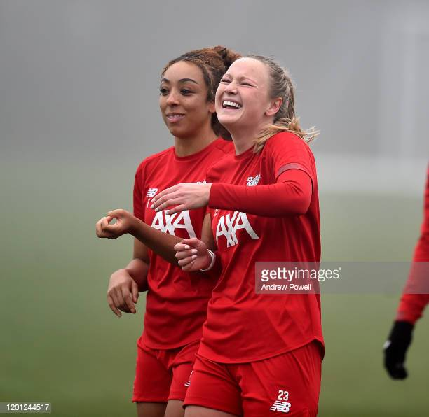 Jemma Purfield and Jessica Clarke of Liverpool Women during a training session at Solar Campus on January 22 2020 in Wallasey England