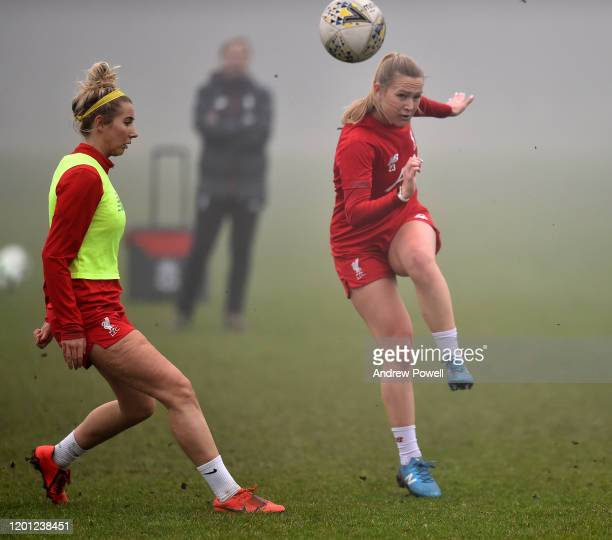 Jemma Purfield and Kirsty Linnett of Liverpool Women during a training session at Solar Campus on January 22 2020 in Wallasey England