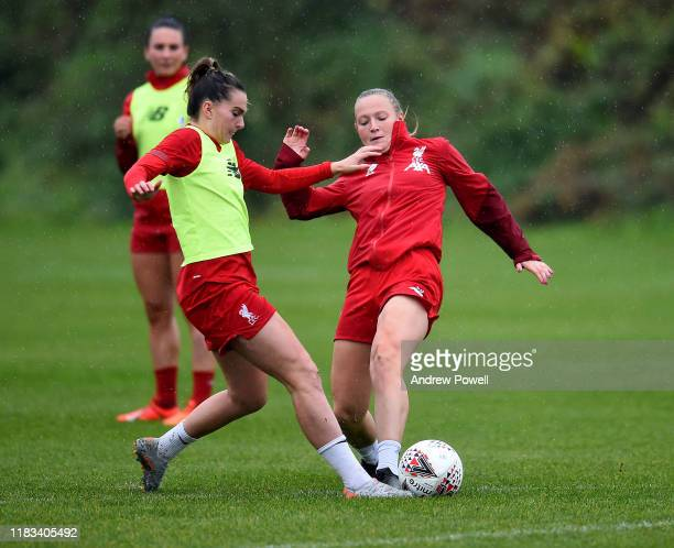 Jemma Purfield and Melissa Lawley of Liverpool Women during a training session at Solar Campus on October 25 2019 in Wallasey England