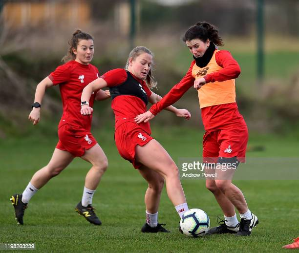 Jemma Purfield and Niamh Fahey of Liverpool Women during a training session at Solar Campus on January 08 2020 in Wallasey England