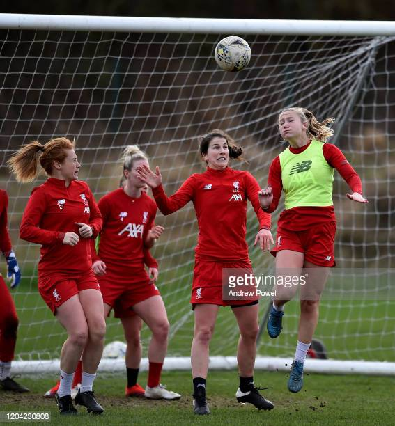 Jemma Purfield and Niamh Fahey of Liverpool Women during a training session at Solar Campus on February 05 2020 in Wallasey England