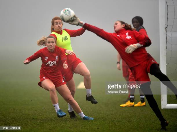 Jemma Purfield and Rachel Furness of Liverpool Women during a training session at Solar Campus on January 22 2020 in Wallasey England
