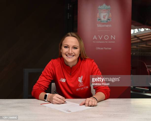 Jemma Purfield new signing of Liverpool FC Women at Anfield on January 18, 2019 in Liverpool, England.
