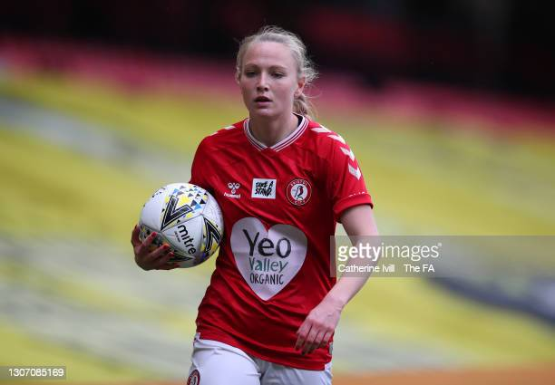 Jemma Purfield of Bristol City holds the mitre delta max match ball during the FA Women's Continental Tyres League Cup Final match between Bristol...