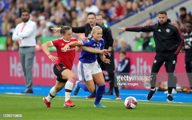 Jemma Purfield of Leicester City Women in action with Kirsty Hanson of Manchester United Women during the Barclays FA Women's Super League match...