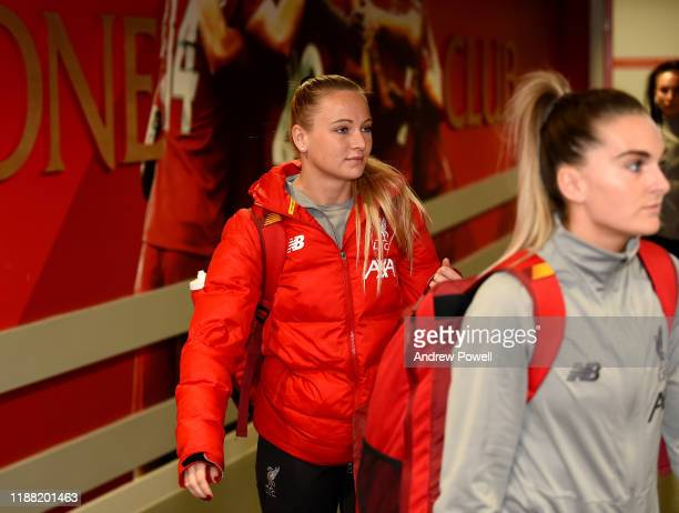 Jemma Purfield of Liverpool Women arriving before the Barclays FA Women's Super League match between Liverpool and Everton at Anfield on November 17...