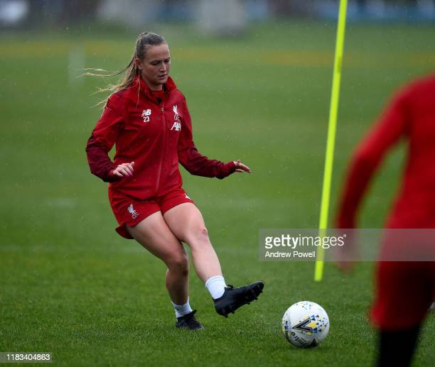 Jemma Purfield of Liverpool Women during a training session at Solar Campus on October 25 2019 in Wallasey England