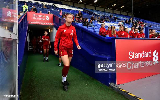 Jemma Purfield of Liverpool Women walking out to warm up before the Women's Super League match between Liverpool Women and Reading Women at Prenton...
