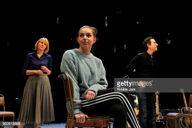 Jemma Redgrave as VanessaSeana Kerslake as Cat and Ben Chaplin as Bernard and in Joe Pengall's Mood Music at The Old Vic Theatre on April 27 2018 in...