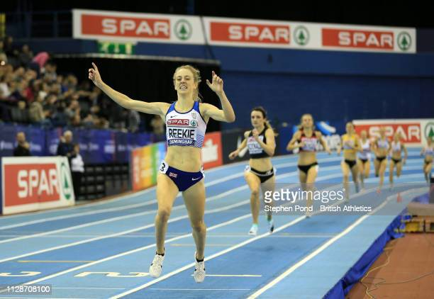Jemma Reekie reacts on her way to winning the womens 1500m final during Day Two of the SPAR British Athletics Indoor Championships at Arena...