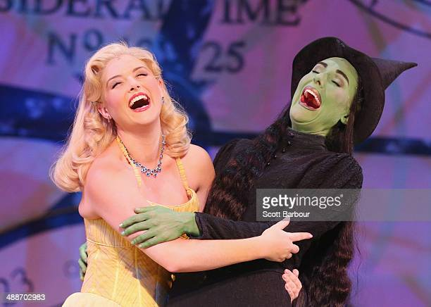 Jemma Rix as Elphaba and Lucy Durack as Glinda laugh during a WICKED production media call at the Regent Theatre on May 8 2014 in Melbourne Australia...
