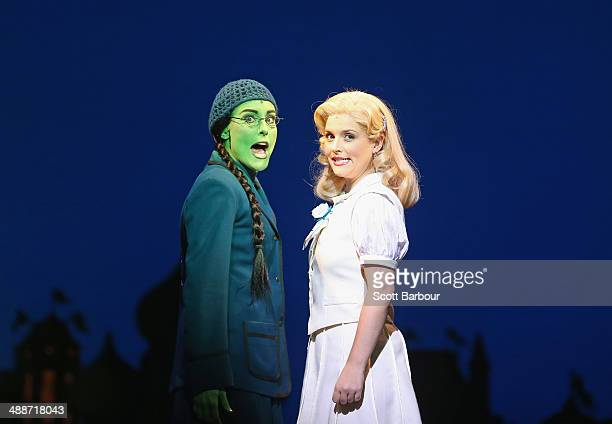 Jemma Rix as Elphaba and Lucy Durack as Glinda perform during a WICKED production media call at the Regent Theatre on May 8 2014 in Melbourne...