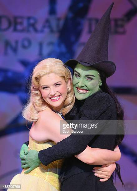 Jemma Rix as Elphaba and Lucy Durack as Glinda pose during a WICKED production media call at the Regent Theatre on May 8 2014 in Melbourne Australia...
