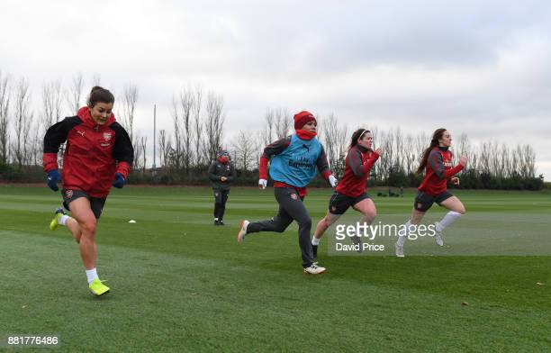 Jemma Rose Alex Scott Emma Mitchell and Lisa Evans of Arsenal Women during the Arsenal Womens Training Session at London Colney on November 29 2017...