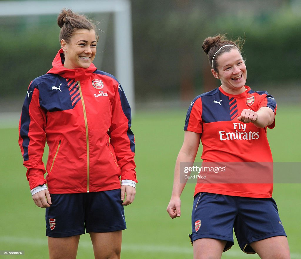 Jemma Rose and Emma Mitchell of Arsenal Ladies during the Arsenal Ladies training session at London Colney on January 29, 2016 in St Albans, England.