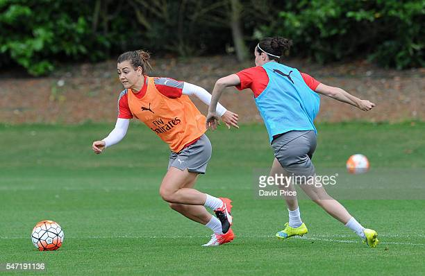 Jemma Rose and Natalia Pablos Sanchon of Arsenal Ladies during their training session on July 13 2016 in London Colney England