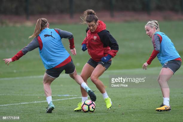Jemma Rose Heather O'Reilly and Beth Mead of Arsenal Women during the Arsenal Womens Training Session at London Colney on November 29 2017 in St...