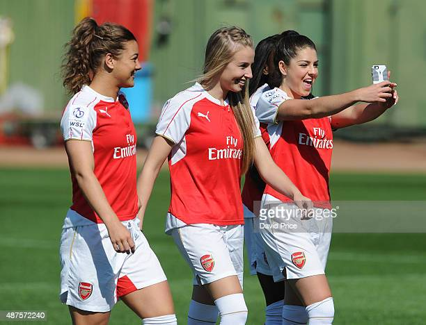 Jemma Rose Leah Williamson and Carla Humphrey of Arsenal Ladies during the Arsenal 1st Team Group Photograph at London Colney on September 10 2015 in...