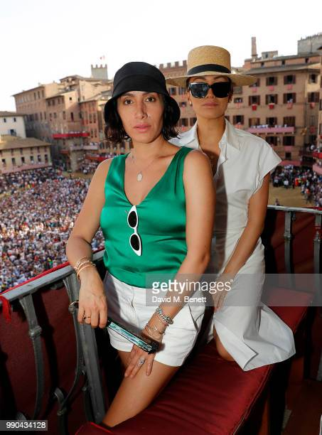 Jen Atkin and Stephanie Shepherd attend the Palio di Siena during the annual Rosetta Getty Tuscany weekend in Siena Italy on July 2 2018 in Italy