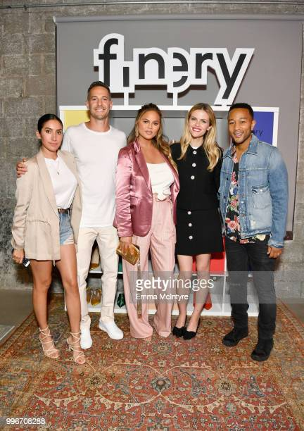 Jen Atkin guest Chrissy Teigen Finery CoFounder Brooklyn Decker and John Legend attend the Finery App launch party hosted by Brooklyn Decker at...