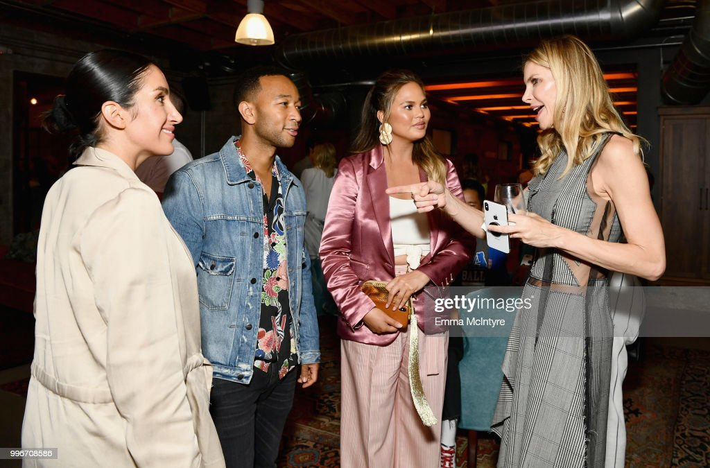 Jen Atkin, John Legend, Chrissy Teigen and Finery Co-Founder, Whitney Casey attend the Finery App launch party hosted by Brooklyn Decker at Microsoft Lounge on July 11, 2018 in Culver City, California.