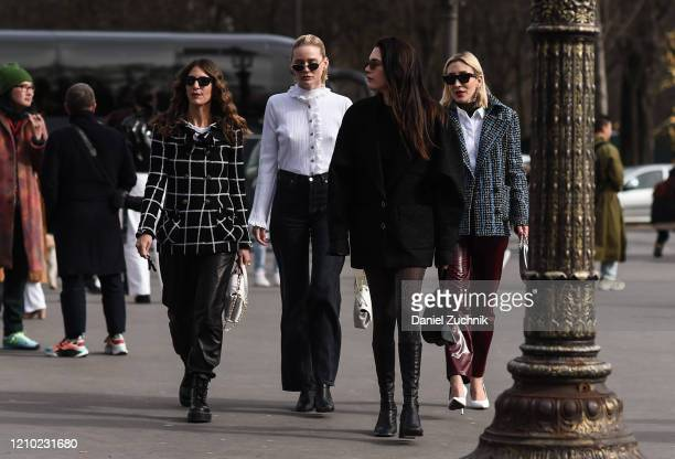 Jen Azouley Megan Adelaide Schaefer Madelyn Furlong and Angela Fink are seen outside the Chanel show during Paris Fashion Week AW20 on March 03 2020...