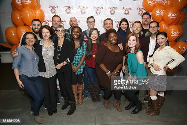 Jen Bender Anna Louizos Robyn Goodman Jason Moore Ann Harada Anika Larson Jeff Marx with the cast attend the 'Avenue Q 13th Anniversary and 3QQQ...