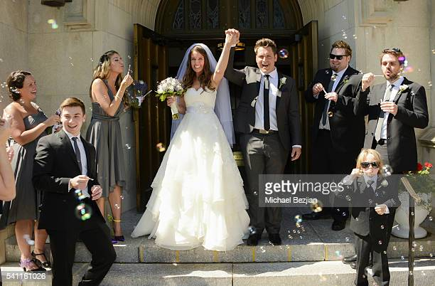 Jen Curci Ryan Doyle and members of bridal party at the wedding of Jen Curci and Ryan Doyle on June 18 2016 in New York City
