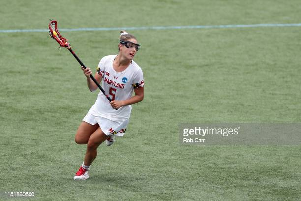 Jen Giles of the Maryland Terrapins runs with the ball against the Boston College Eagles during the 2019 NCAA Division I Women's Lacrosse...