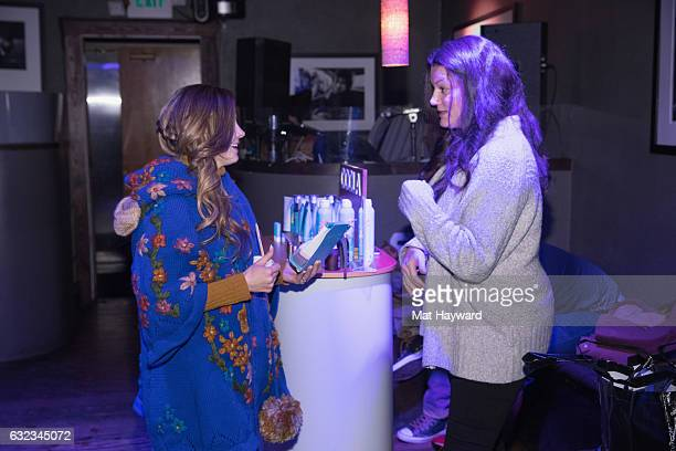 Jen Lilley speaks with a Coola product representative in the Tone It Up Wellness Loung during the Sundance Film Festival on January 21, 2017 in Park...