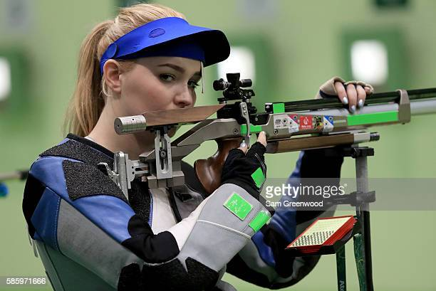 Jen McIntosh of England shoots in a 10m Air Rifle training session prior to the start of the Rio 2016 Olympic Games at the Olympic Shooting Centre on...