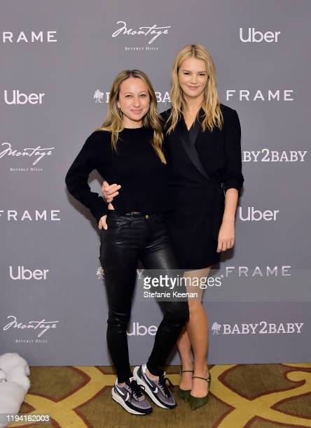 Jen Meyer and Kelly Sawyer Patricof attend The Baby2Baby Holiday Party Presented By FRAME And Uber at Montage Beverly Hills on December 15, 2019 in...